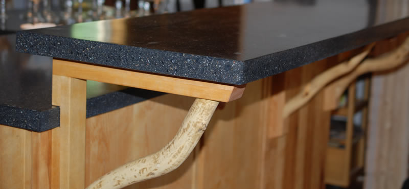 Two tiered concrete countertop