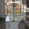 Concrete Dining Table with Glass Top